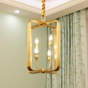 Gold Circle/Square Ceiling Pendant Light Metal 4 Lights Vintage Chandelier Lighting for Foyer