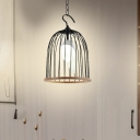 Metallic Birdcage Pendant Lamp Height Adjustable 1 Light Foyer Hanging Ceiling Light in Black