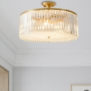 Crystal Drum Semi Flush Ceiling Light Dining Table Luxurious LED Ceiling Lamp in Gold