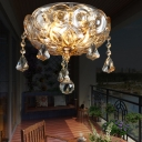 Clear Flower Flush Ceiling Light with Crystal Ball Decor Hotel Porch Elegant Style Ceiling Lamp