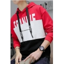 Mens New Fashion Colorblock Letter Printed Long Sleeve Drawstring Pullover Hoodie