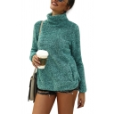 New Stylish Plain High Neck Long Sleeve Fluffy Teddy Sweatshirt With Pockets