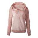 Winter Warm Plain Long Sleeves Pleuche Half-Zip Hoodie