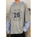 Mens Trendy Letter 26 Printed Long Sleeve Fake Two-Piece Shirt Casual Loose Fit Pullover Hoodie