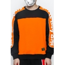 Hot Fashion Letter Print Colorblock Round Neck Long Sleeve Orange Pullover Sweatshirt