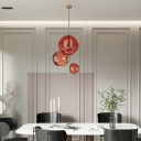 Nordic Style Bubble Chandelier 3 Lights Red Glass Hanging Pendant Light in Gold