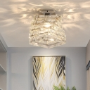 Crystal Square Ceiling Light Fixture Contemporary 1 Light Unique Lighting Fixture for Hallway