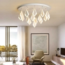 Geometric Ceiling Light with Round Canopy Multi Light Metal and Acrylic White Semi Flush Lighting