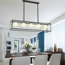 5 Lights Linear Chandelier Lighting with White Glass Shade Modern Metal Island Lighting in Black