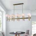 Linear Kitchen Island Lighting Mid Century Modern Opal Glass Lampshade 10 Lights Pendant Light in Gold