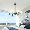Sputnik Hanging Ceiling Light with White Glass Shade Modern Metal 6/8/9/12 Heads Black/Gold Chandelier