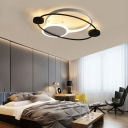 Orbit Integrated Led Flush Light Warm/White Light Metal and Acrylic Nordic Style Flushmount in Black and White/Gray