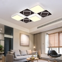 Acrylic Checkerboard LED Ceiling Lamp Nordic Style Flush Ceiling Light in Black and White for Bedroom