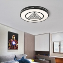 Acrylic Round Flush Mount Light with Triangle Bedroom Kitchen Modern Warm/White Lighting Ceiling Light in Black and White