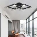 Black Diamond Shape Flush Mount Light 8 Lights Modern Aluminum E14 Ceiling Lamp for Restaurant