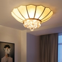 Scalloped Flush Lighting with Clear Crystal Ball 4/6 Bulbs White Glass Flushmount Ceiling Light in Brass