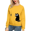 Womens Cartoon Cat Fish Pattern Long Sleeve Casual Pullover Sweatshirt