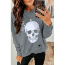 Halloween Skull Pattern Hollow Out Detail Long Sleeve Plain Pullover Sweatshirt