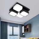 Square Kitchen Bedroom Ceiling Lamp Acrylic Metal 4/6/9/12/16/20 Heads Modern LED Ceiling Mount Light in Black