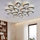 Acrylic Leaf Shape Flush Mount Light Modern Style LED Ceiling Light in Black for Hotel Shop