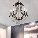 Traditional Crystal Hanging Light with Candle 5/6 Bulbs Pendant Light in Black for Bedroom