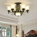 Flower Ceiling Lamp with Bowl Shade Frosted Glass 9/11/13 Lights Retro Semi Flush Lighting in Black