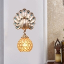 Gold Peacock Wall Lighting with Blue Crystal Bead 1 Light Country Style Wall Mount Lamp for Bedroom