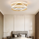 LED Drum Flush Mount Lamp Simple Metal Gold Bedroom Flush Mount Ceiling Fixture in Warm/White, 18