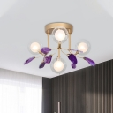 4/9/12 Lights Bubble Semi Flush Mount Modern Glass and Metal Semi Flush Light in Gold with Multi-Colored/Purple Agate