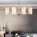 8 Lights Cylinder Hanging Lamp Modern Style Milk Glass Chandelier with 19.5