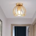 Black/Gold Metal Cage Ceiling Mounted Light Minimalism 1 Light Flushmount Lighting for Corridor