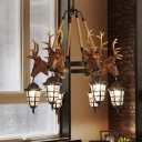 Vintage Urn Cage Hanging Chandelier with Elk Accent Metal 6 Heads Indoor Chandelier Lighting Fixture in Brown