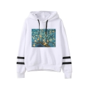 Famous Art Oil Painting Striped Long Sleeve White Hoodie for Women