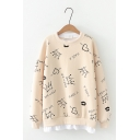 Preppy Cute Crown Heart Lip Pattern Long Sleeve Fake Two Piece Loose Pullover Sweatshirt