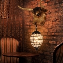 Resin Cattle Sconce Lighting with Crystal Teardrop Glass Shade 1 Light Rustic Style Wall Lamp