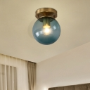 Blue/Tan Spherical Flushmount Light Minimalism Glass 1 Head Balcony Ceiling Light Flush Mount