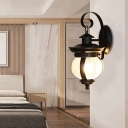 Mystic Black Globe Shade Wall Lighting Industrial Seeded Glass 1 Head Wall Sconce with Metal Curved Arm