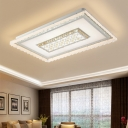 Contemporary Led Flush Mount Lighting with White Square/Rectangle Shade Indoor Flush Ceiling Light for Living Room