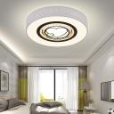 White Heart/Hexagon/Square Ceiling Flush Light Modernism Crystal Pendant Light with Metal Drum Shade