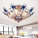 Modernism Blue/Pink Crystal Semi Flush Lamp 6 Lights Chrome/Gold Semi Flush Lighting for Bedroom
