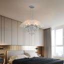 Dimple Glass Dome Chandelier Light 5 Lights Modernism Hanging Ceiling Light in Polished Chrome