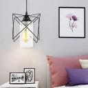 Industrial Metal Wire Pendant Lighting 1 Bulb Indoor Suspension Lamp in Black for Bedroom