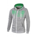 Simple Letter Printed Colorblocked Long Sleeve Zipper Hoodie with Pocket