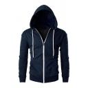 Casual Plain Long Sleeve Drawstring Hood Zipper Slimming Hoodie for Men