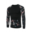 Casual Chain Printed Raglan Long Sleeve Kangaroo Pocket Black Pullover Sweatshirt