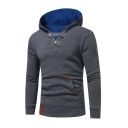 Color Block Button Embellished Long Sleeve Kangaroo Pocket Pullover Hoodie with Pocket