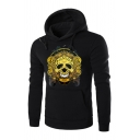 Halloween Skull Pattern Long Sleeve Casual Drawstring Hoodie