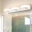 3 Round Vanity Lighting Modern Acrylic Integrated Led Vanity Mirror Light in White