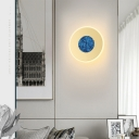 Stainless Steel Round Wall Light Post Modern Decorative Wall Lamp in Third Gear