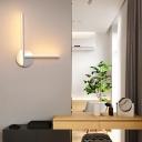 Slim Linear Wall Mount Lighting Minimalist Metal Black/White Led Bedroom Lighting in Warm/White